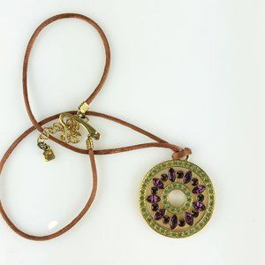 Givenchy Purple Stone Gold Circle Pendant On Cord